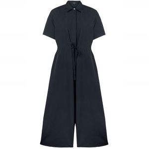 Theory Workwear Jumpsuit Cotton Wide-Leg Navy Blue